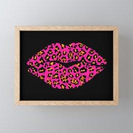 Pink Leopard pattern Lips Framed Mini Art Print