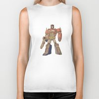 optimus prime Biker Tanks featuring Optimus Prime by colleencunha