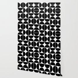 Mid Century Modern Geometric 04 Black Wallpaper
