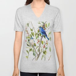 Mountain Bluebirds and Berries Unisex V-Neck