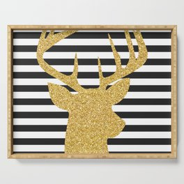 Gold Deer Black and White Stripes Serving Tray