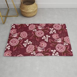 Roses and birds in bordeaux red Rug