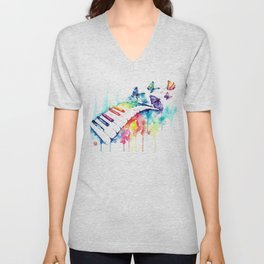Rainbow Piano Watercolor Painting By Lisa Whitehouse Unisex V-Neck