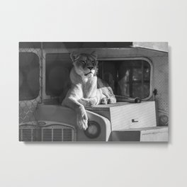 Relaxing on the bus (b&w) Metal Print