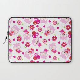 Pattern Of Owls, Cute Owls, Pink Owls, Hearts Laptop Sleeve