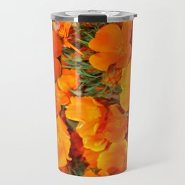 Sage Green Art Golden California Poppies Design Travel Mug