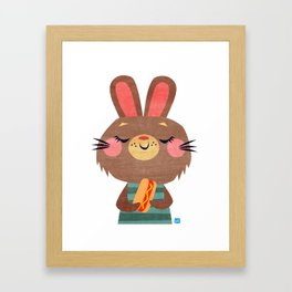 Hot Dog Bunny Framed Art Print