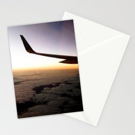 Airplane Wing Window Seat View of Horizon at Dusk Stationery Cards