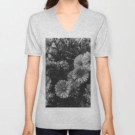FLOWERS - FLORAL - BLACK AND WHITE Unisex V-Neck