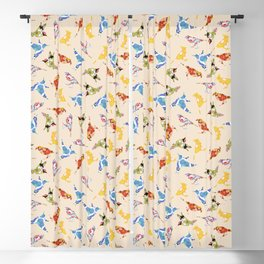 Vintage Wallpaper Birds Blackout Curtain