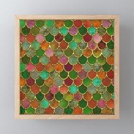 Greens & Gold Mermaid Scales Framed Mini Art Print