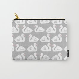 Swan minimal pattern print grey and white bird illustration swans nursery decor Carry-All Pouch