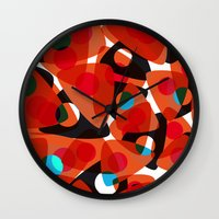 70s Wall Clocks featuring orange 70s by Matthias Hennig