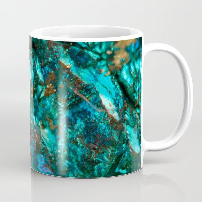 Teal Oil Slick and Gold Quartz Coffee Mug
