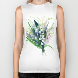 Lilies of the Valley, spring floral design flowers sring design wood flowers Biker Tank