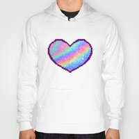holographic Hoodies featuring Holographic Heart by Sombras Blancas Art & Design