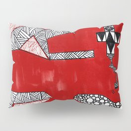 Red Abstract Composition Pillow Sham