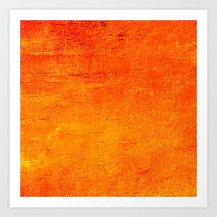 Orange Sunset Textured Acrylic Painting Kunstdrucke