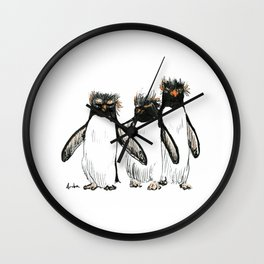 Macaroni Penguin Gang Wall Clock