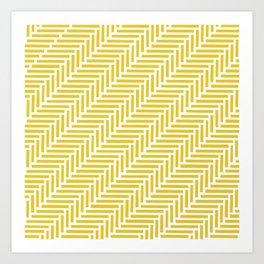 Herringbone 45 Yellow Art Print