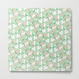 Triangle Optical Illusion Green Light Metal Print