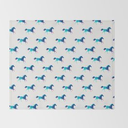 blue horse pattern Throw Blanket