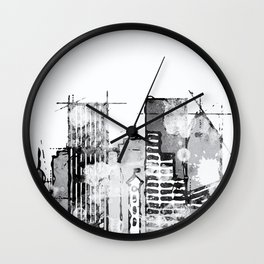 Black and white watercolor Portland skyline Wall Clock