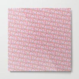 'Travel' Trendy Rainbow Text Pattern (Pink) Metal Print