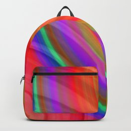 Hot volumetric semicircles with a crisp red accent and all the colors of the rainbow. Backpack