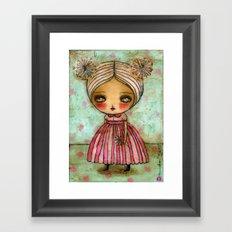 Dandelion Girl in Red And Pink Framed Art Print