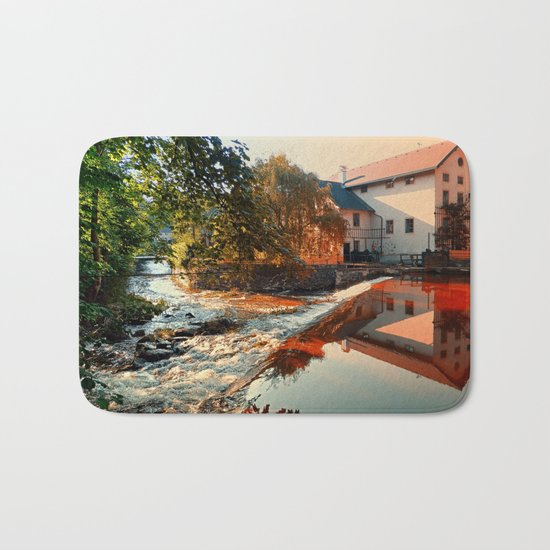 The river, a country house and reflections | waterscape photography Bath Mat