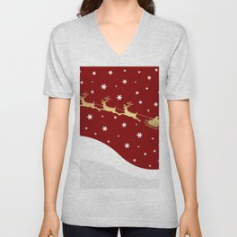 Red Christmas Santa Claus Unisex V-Neck
