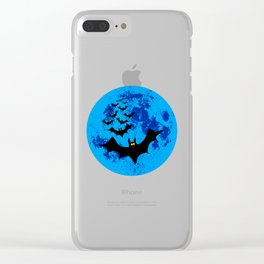 Vampire Bats Against The Blue Moon Clear iPhone Case