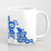 evil eye Mugs featuring Evil eye by Suburban Bird Designs