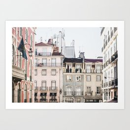 Pastel Streets of Lisbon | Portugal travel photography | whimsical fine art print | saige ash studio Art Print Art Print