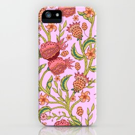 Pomegranate indian style seamless pattern design iPhone Case