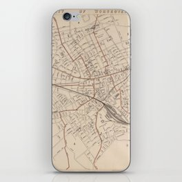 Vintage Map of Worcester MA (1891) iPhone Skin