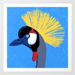 Grey Crowned Crane Art Print
