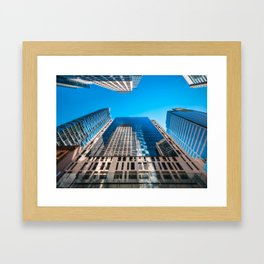 Looking up from George street at major City Towers in Sydney Framed Art Print