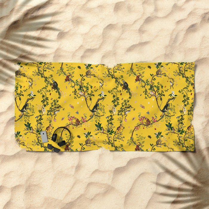 Monkey World Yellow Beach Towel