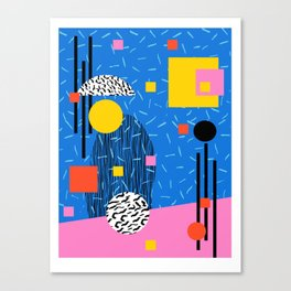 Crank - 80s retro throwback minimal abstract painting memphis style trendy vibes all day Canvas Print