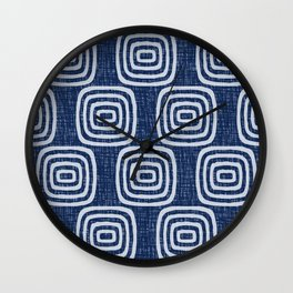 Mid Century Modern Mudcloth Concentric Pattern 762 Indigo Blue Wall Clock