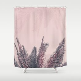 Pretty in Pink Tropical Palm Leaves Shower Curtain