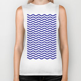 Waves (Navy & White Pattern) Biker Tank