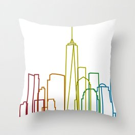 NYC Skyline Color Throw Pillow
