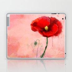 Red Poppy watercolor digital painting Laptop & iPad Skin
