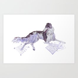 The Silken Windhound and Some Pillows Art Print