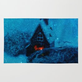 Small house in the snowy prairie- Christams winter image  Rug
