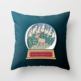 Merry Christmas Snowglobe Reindeer Throw Pillow