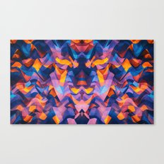 Abstract Surreal Chaos theory in Modern Blue / Orange Canvas Print